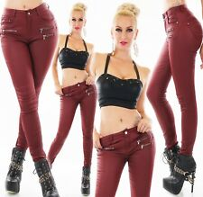 Women's Jeans Trousers Leather Wet Look High Waist Stretch Tube Matt Shiny Faux
