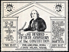 150th Anniversary of the Constitution, Philadelphia Poster Stamp (1937) Mnh