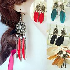 Dream Catcher Rhinestone Feather Tassel Fringe Bohemian Earrings Beads Vintage