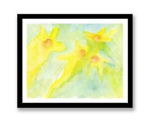 "Watercolour abstract daffodil, Print of painting,In 7"" x 5"", unique gift ID :253"