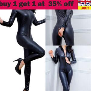 Sexy Ladies Leather Black Catsuit Jumpsuit Wetlook Bodysuit Clubwear Lingeriesa