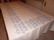 OFFERTA Tovaglia in fiandra con fiocchi di neve blu senza tovaglioli 258X148