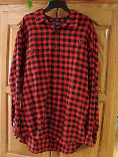 NEW MENS CRABLE RED & BLACK PLAID CHECKED FLANNEL SHIRT LONG SLEEVE SIZE XXL 2X