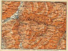 Antique map Chur / Coire Schanfigg  Graubünden Switzerland 1907 karte