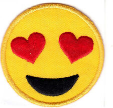 """EMOJIS, LARGE - HEART EYES (2"""" ROUND) - IRON ON OR STICK ON PATCH - EXPRESSIONS"""
