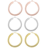 10k Yellow Gold Large Plain Round hoop Earrings. 1 1/2'' 45mm x3MM 3.2GR