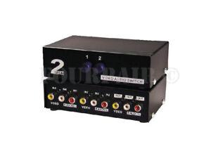 2-Port RCA Composite Video Audio AV 2-Way Switch Selector Switcher Splitter Box