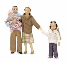 Melissa  Doug  4-Piece Victorian Vinyl Poseable Doll Family for Dollhouse - 1:12
