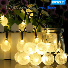 Solar Powered Crystal Ball 30 LED String Lights Strip Lamp Christmas Warm White