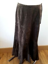 MONSOON CHOCOLATE  BROWN SUEDE LEATHER LONG SKIRT LEATHER SIZE 12 UK TREND