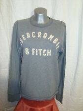 ABERCROMBIE & FITCH MUSCLE grey crew neck embro sweatshirt top pullover sz S