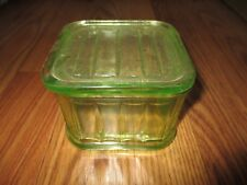 ANTIQUE VINTAGE GREEN DEPRESSION COVERED BOX REFRIDGERATOR DISH GLASSWARE OLD