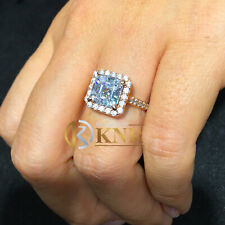 14k rose Gold Asscher Forever One Moissanite and Diamond Engagement Ring 2.70ct