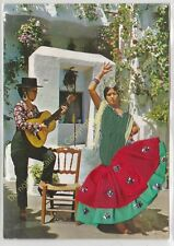 CP BRODEE EMBROIDERED BORDADA FOLKORE Femmes guitare robe verte rouge paillettes