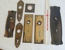 5 Vintage Brass Door Hardware Escutcheons 2 pressed steel