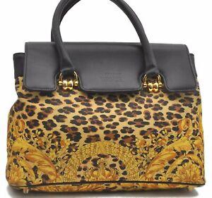 Authentic GIANNI VERSACE Sunburst Flower Leopard PVC Leather Hand Bag B4757