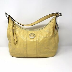 Coach Signature Stitched Yellow Patent Leather Hobo Shoulder Bag F19282