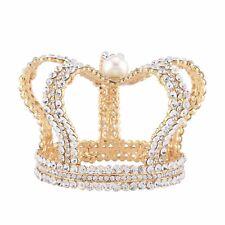 3'' High Rhinestone Tiaras Headpiece Prom Gold King Pearls Crystal Royal Crown