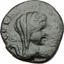 Thessalonica in Macedonia  50BC Ancient Greek Coin Veiled woman Wreath i41402