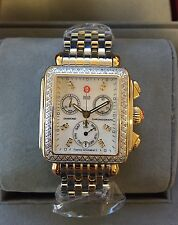 NEW Authentic Michele Deco Diamond Two Tone Gold MOP MWW06P000108 Ladies Watch