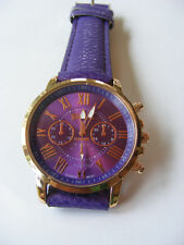 GOSSIP PURPLE LEATHER STRAP BAND WATCH WITH ROSE GOLD BEZEL AND NUMERALS