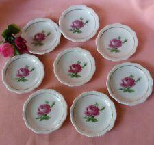 Vintage Set of 8 Bavaria Red Rose Butter Pat Plates