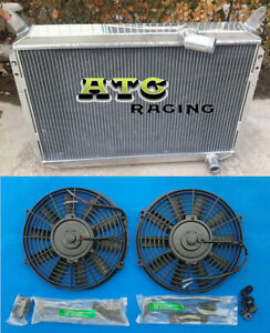 3 Row Aluminum Radiator +FAN For Nissan 300ZX All Aluminum 1984-1989 85