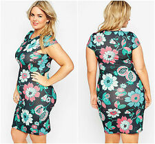 Midi Dress plus Size BN Ladies evening Cap Sleeve Artistic Floral 20 22 24 26 28