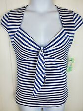 Rocksteady Top Size L Blue White sailor Striped Sweetheart Top Retro Pin-Up