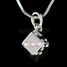 w Swarovski Crystal 3D Dice Roller Die Game Gambling Cube Lucky Necklace Jewelry