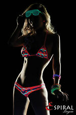 SEXY BIKINI BRASILIANO RAVE CLUB WEAR DISCO ROSA GIALLO NEON BLACKLIGHT ESPIRAL