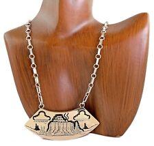 Museum VTG Navajo H T.C Case & Co Hopi Village Necklace 14k Solid Gold & .925