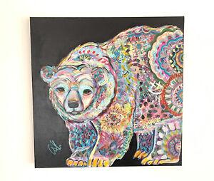 Candy Green Art Original Painting Acrylic on Canvas Ice Ice Beary 61x61x4cm +COA