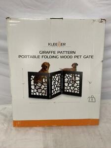 "Kleeger Giraffe Pattern Portable Folding Wood Pet Gate 45"" x 19"""