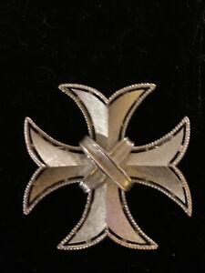 vintage crown Trifari silver tone Maltese cross Pin Pendant