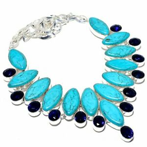 """Santa Rosa Turquoise & Sapphire 925 Sterling Silver Necklace 16-18"""" T2793"""
