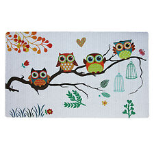 "Non-Slip Home Fashions Owls Vinyl Back Painting Mats Doormat 29""X17"""