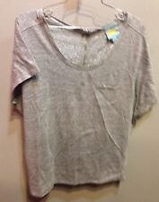 $89 New C&C California Brand Gray Sparkle Short Sleeve Zipper Back Shirt Size M