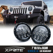 "7"" Inch 105W Cree LED Headlights Hi/Lo Beam DRL for 97-18 Jeep Wrangler JK TJ"
