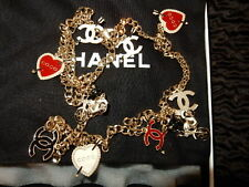 CHANEL COCO HEART PEARL CC MOTORCYCLE NECKLACE BRUSHED GOLD HW 10P RARE