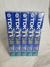 PACK OF 5 TDK VHS Blank Video Casette Tapes 240 Mins/4 Hrs each. NEW & SEALED