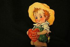 Vintage Farmer Boy & Sling Shot Valentine card c 1930s Unsigned