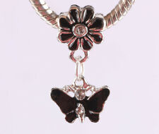 2pcs silver butterfly pendant daisy painted European charm bead bracelet #C642