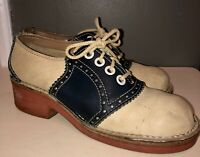 VTG 50'S-60'S SADDLE SHOES BLUE& OFF WHITE BROGUED LEATHER 7.5-8