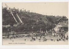 Beach & Lifts Folkestone Kent Vintage Postcard 652a