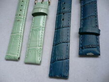 New 2 Watch Strap Band Genuine Leather Pastel Green &  Blue Anti Dressy