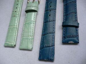 New 2 Watch Strap Band Genuine Leather Pastel Green &  Blue Anti Dressy