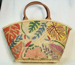 "Tory Burch Straw Beach Bag Tote Leaf Pattern Leather Handles 22 x 13"""