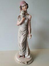 A Belcari Figurine Lady And Dog Dear 1987 25.5cm Tall