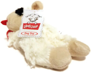 """Lamb Chop Squeaky Dog Toy Small Red Paws 6"""" Long White Chew Fetch Plush"""